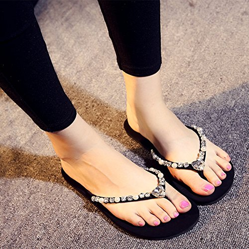Slide with Antiskid Sandals Beach Transparent Rhinestone Rhinestone Women's Flipflops fereshte af74qw