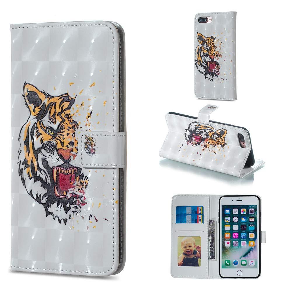 BONROY Hü lle,iPhone 8 Plus/iPhone 7 Plus(5,5 Zoll) Schutzhü lle, Lederhü lle PU Leder Tasche Cover Wallet Case fü r iPhone 8 Plus/iPhone 7 Plus(5,5 Zoll) Smartphone-(XS-Tiger)