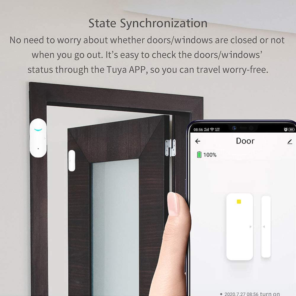 Ajcoflt Alarma Inteligente de Ventana con Sensor de Puerta WiFi Compatible con Alexa y Google Home Herramienta de Control inal/ámbrico para Puertas y Ventanas