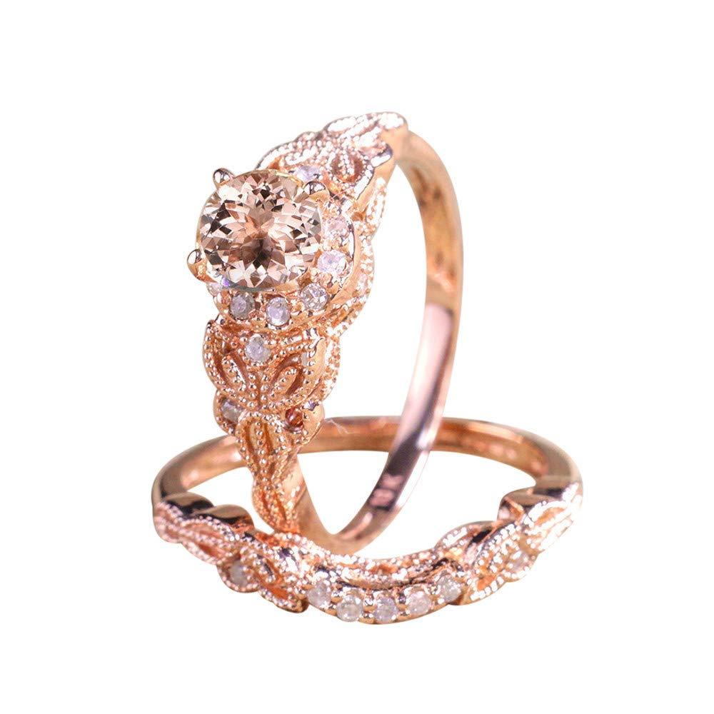 BOOBODA Elegant Lady Rose Gold Micro-Inlaid Zircon Ring Wedding Bridesmaid Ring Drilling Edge(Rose Gold,9#)