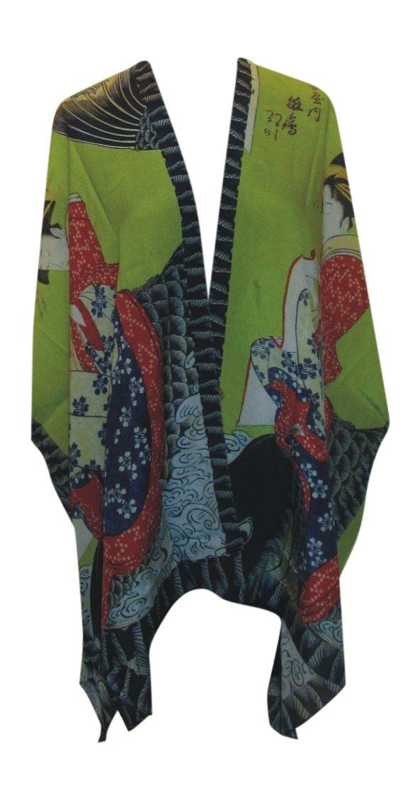 Cocoon-House Women's Koi Silk Long Kimono Jacket Oversized One Size Plus (Green)