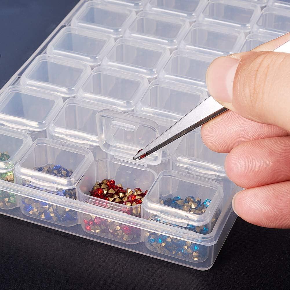 PH PandaHall 12 Pack 6 Grids Plastic Round Bead Storage Box Case Container Jewelry Organizer Case 8cm