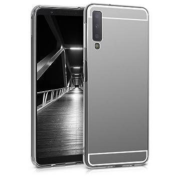 kwmobile Funda para Samsung Galaxy A7 (2018) - Carcasa Protectora [Trasera] de [TPU] para móvil en [Plateado con Efecto Espejo]