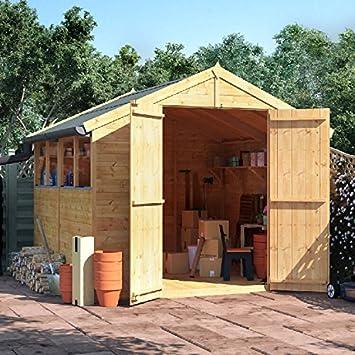 8 x 8 la lengua y Groove de madera Apex de la puerta shed doble ventana para techo y fieltro jardín cobertizos 8 M 8 FT: Amazon.es: Jardín
