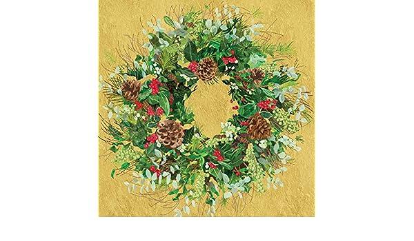 Paperproducts Design PPD 3252581 Yuletide Wreath 5x5 Gold gold Beverage//Cocktail Paper Napkins