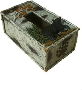 "Comfy Hour 4"" Rustic Nature Birch Black Bear Tissue Paper Holder Cover Tissue Box"