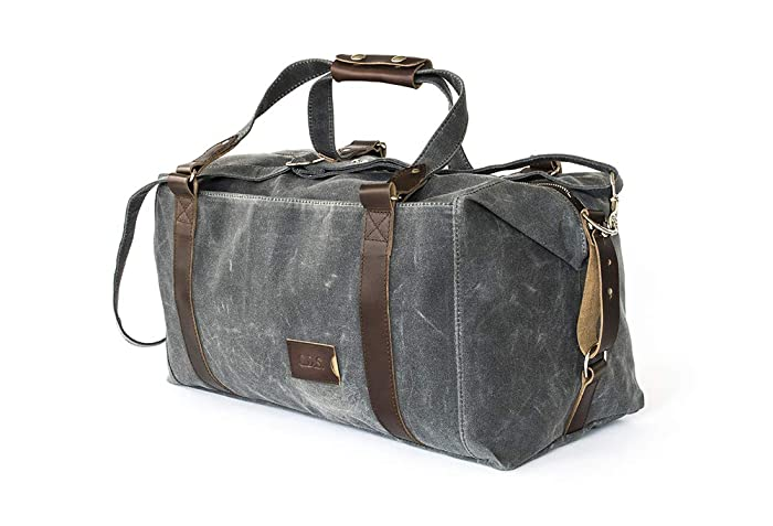 Amazon.com  Waxed Canvas Weekender Duffle Bag  Personalized ... 35c4d67f03