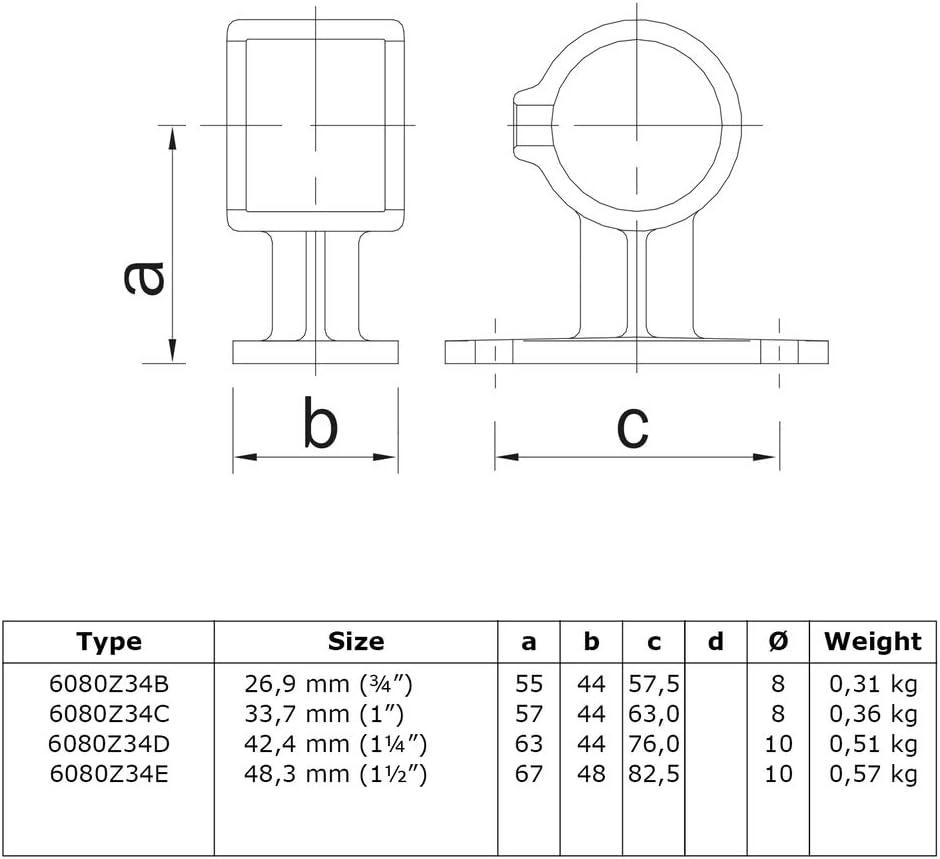 inkl Schrauben Schwarz Mittelst/ütze-Rohrverbinder /Ø 26,9 mm // /¾ Klemp Typ 34BB Handlaufhalterung//Wandhalterung