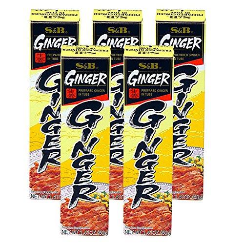 [ 5 Packs ] S&B Prepared Ginger Paste in Tube 1.4 oz - Ginger Paste