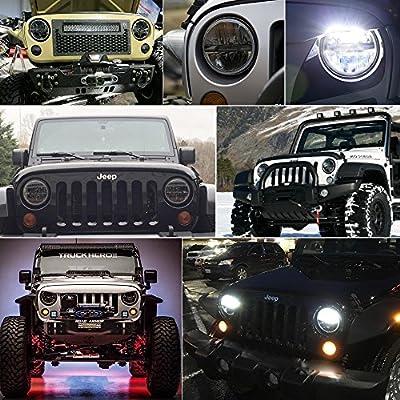 LED Round Headlight 7 inch 2PCS Cree E-MARK Approved 6000K Hi/lo Beam lamp Halo for Jeep Wrangler JK TJ LJ Harley Davidson, Uni-light J004-2pcs