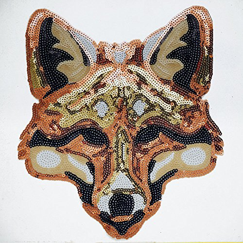 (Fox Sequin Iron-On or Sew Applique Patch by pc, 8-1/4