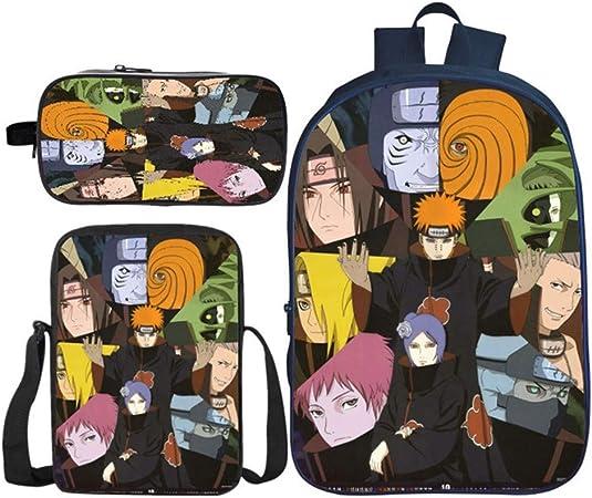 Mochila de anime de Naruto con estampado 3D + bolsa cruzada+estuche de tres piezas para estudiantes de anime de la escuela bolsa de combinación adolescentes niñas mochila casual: Amazon.es: Equipaje