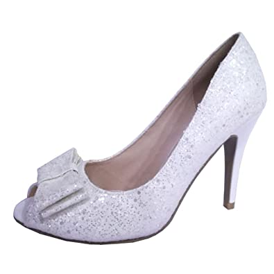 b9dd5c9857cc Ladies Glitter Peep Toe Shoe Sparkly High Heels Bow Dress Shoes Party  Wedding Size 3-8  Amazon.co.uk  Shoes   Bags