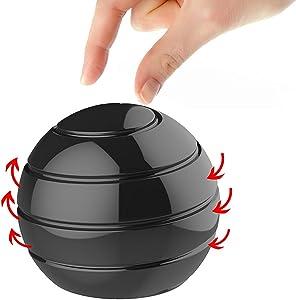 Manzelun Kinetic Desk Toys,Full Body Optical Illusion Fidget Spinner Ball,Gifts for Men,Women,Kids (Black)