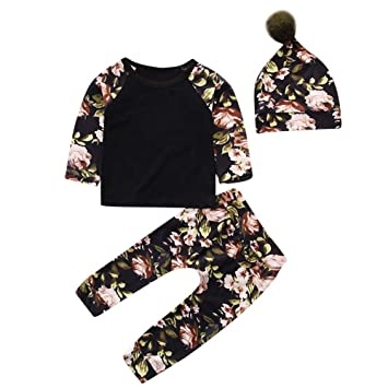 5f74e1e43208d Yihaojia 3PCS Winter Autumn Cotton Set ClothesToddler Kids Baby Floral  Print Top Clothes+Long Pants