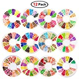 12 Pack 2,000 Pieces Fruit Slices Refill Kit for Slime Making, Nail Art and Decoration, Including Cake, Flower, Animal, Smile, Star, Heart Shape, Bowknot, Santa Claus Slices Design