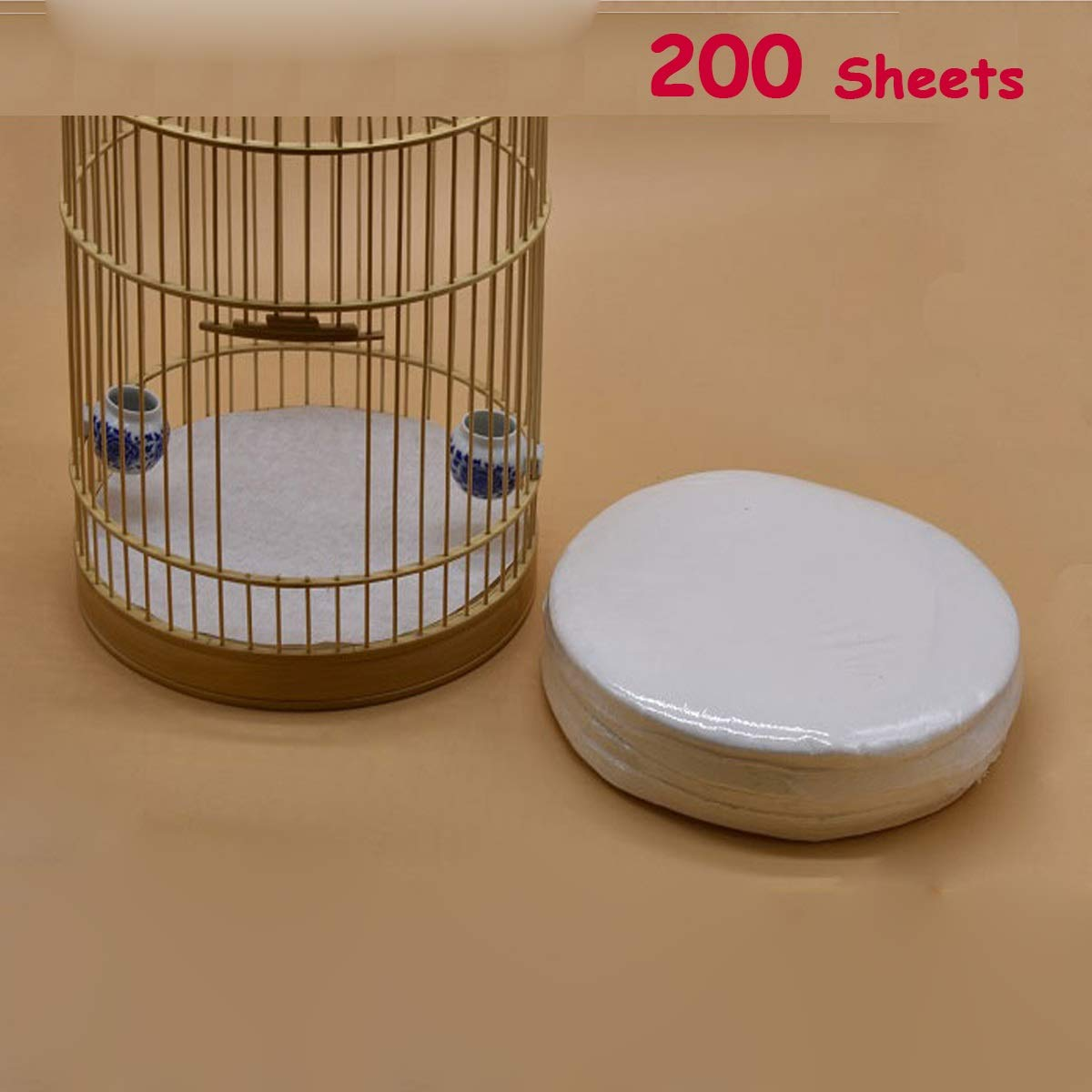 Bonaweite Disposable Non-Woven Bird Cage Liners Papers, Parrot Pet Cages Cushion Pad Mat Accessories, Round-200 Sheets