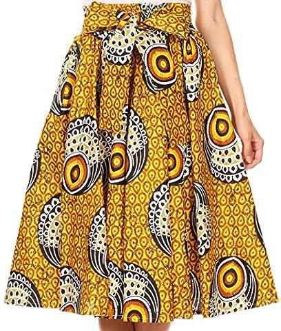 Sakkas 16321 - Celine African Dutch Ankara Wax Print Full Circle Skirt - 1111-YellowMulti - OS - Circle Print Tie