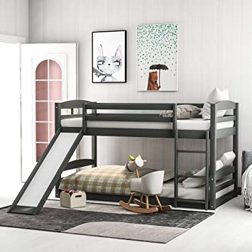 Amazon Com Low Bunk Beds For Kids And Toddlers Wood Bunk Beds No Box Spring Needed Gray Twin Bunk Beds With Slide Furniture Decor