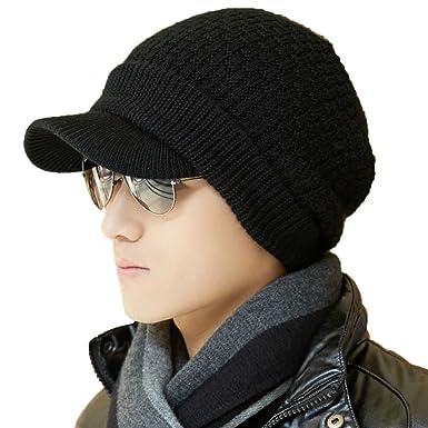 帽子 メンズ ニット帽 ニットキャップ キャスケット つば付き 秋冬 ウール 小顔 フリーサイズ 大きいサイズ