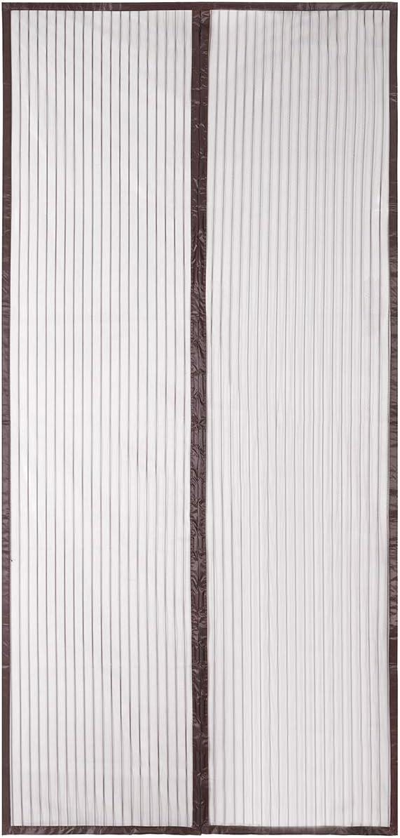 Sekey Cortina Magnética de Puerta a Prueba de Mosquito para Puertas de Madera, Puertas de Hierro, Puertas Metálicas, Puertas del Balcón, Puertas de RV, Cierre Magnético Automático, 210 x 90 cm, Marrón