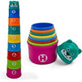 Kidsthrill Educational Rainbow Stacking & Nesting Cups Baby Building Set. 9 Pieces. With ABC Characters And Numbers. For Indoor, Outdoor, Bathtub, And Beach Fun Toy. Multi Colors