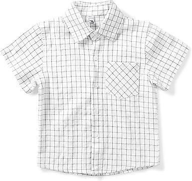 Aeslech Camisa deportiva de manga corta con botones para niño ...