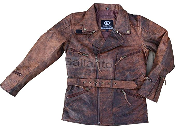 8728c8311fc 3 4 Quarter Length Eddie Mens Motorcycle Biker Brown Distressed Vintage  Long Leather Jacket  Amazon.co.uk  Clothing