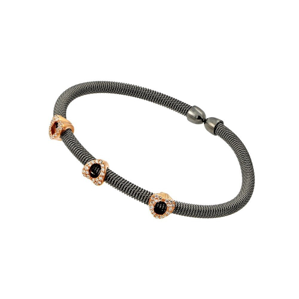CloseoutWarehouse Clear Cubic Zirconia Three Rose Gold-Tone Hearts Designer Bracelet Black Rhodium Plated Sterling Silver