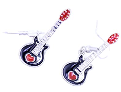 Lizzyoftheflowers - estilo Retro, esmalte corazón rojo de guitarra ...