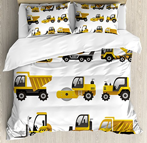 Construction Duvet Cover Set King Size by Ambesonne, Big Vehicles Icon Collection Engineering Building Theme Clip Art Style, Decorative 3 Piece Bedding Set with 2 Pillow Shams, Yellow Grey (King Clipart)