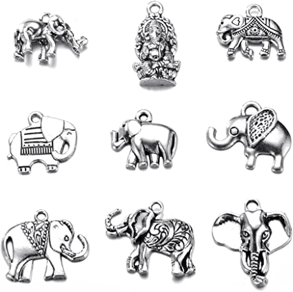 5 Tibetian Silver Elephant Charms Lot