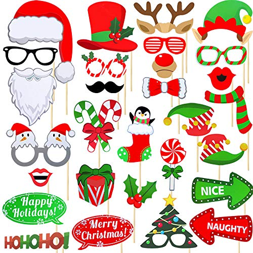 Christmas Photo Booth Props Kit 32 Pcs, DIY Christmas Decorations Party Favors Supplies New Years for Children Birthday, Pose Sign Santa Claus Deer Horn Hat Glasses Moustache Red Lips Clown ()
