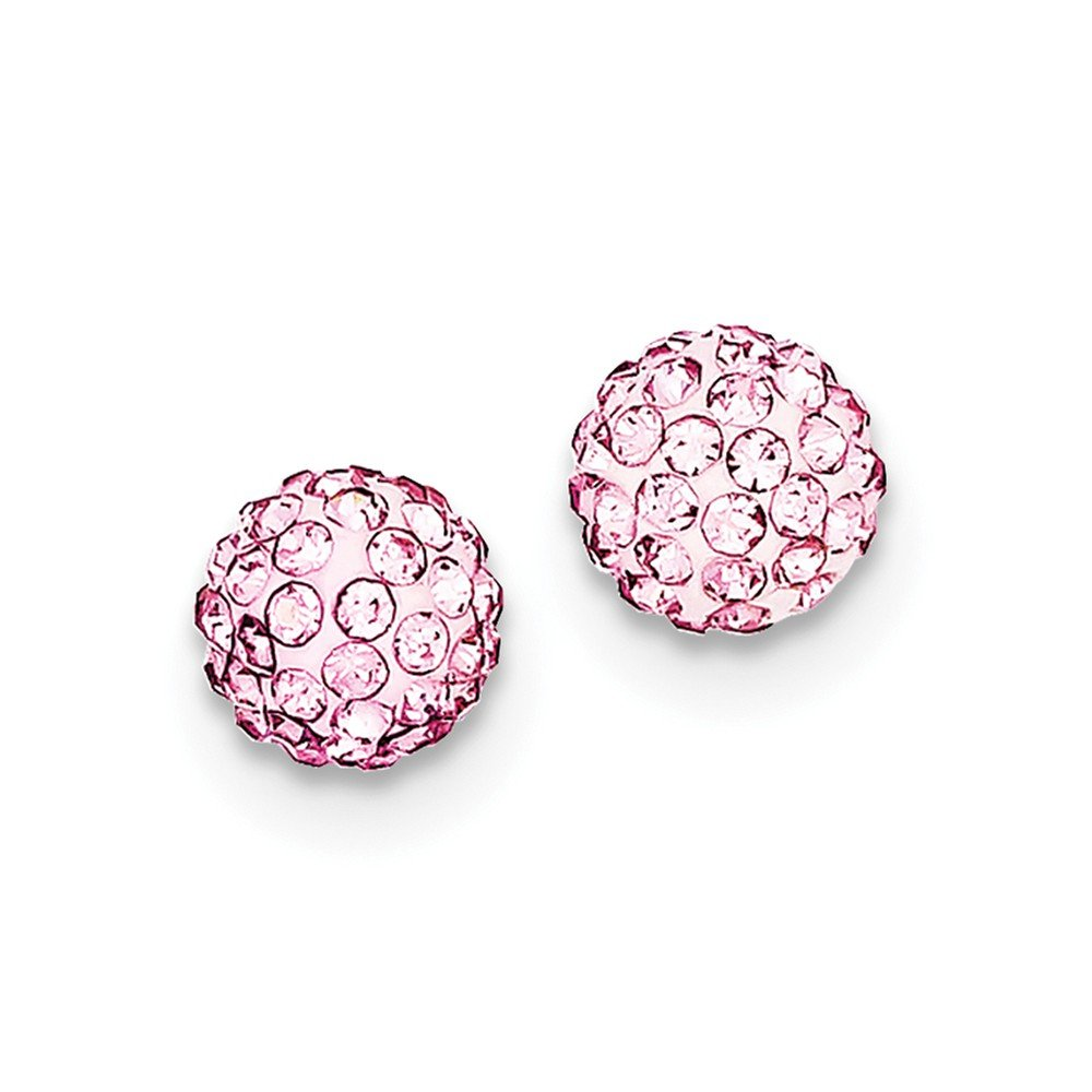 Diamond2Deal 925 Sterling Silver 8mm Pink Round Crystal Post Ball Stud Earrings