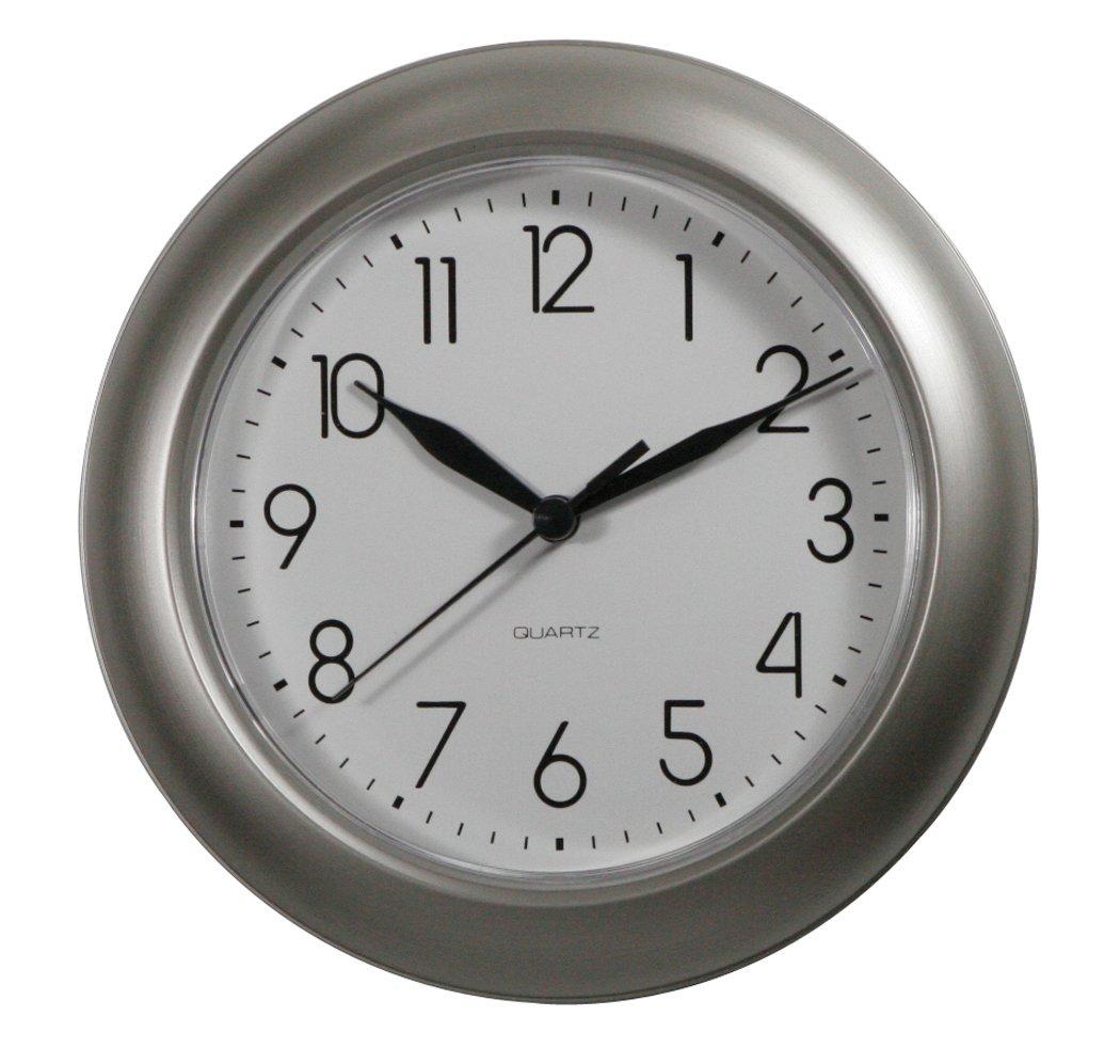 ITC (32000-NI-DB) 8-Inch Brushed Nickel Round Clock