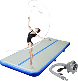 CHAMPIONPLUS Inflatable Air Tumbling Mat Gymnastics Tumble Track 4/8 inches Thickness Air Mats for Home Use/Training/Cheerleading/Water Yoga 10ft 13ft 16ft 20ft with Electric Air Pump
