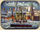 Russian Lacquer Box (3298) St.Basil's Cathedral & Kremlin