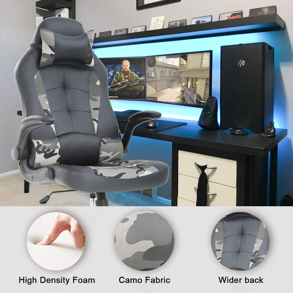 PC Gaming Chair Ergonomic Office Chair Desk Chair PU Leather Racing Chair Executive Swivel Rolling Computer Chair with Lumbar Support Flip Up Arms Headrest for Adults,Camo by BestOffice (Image #4)
