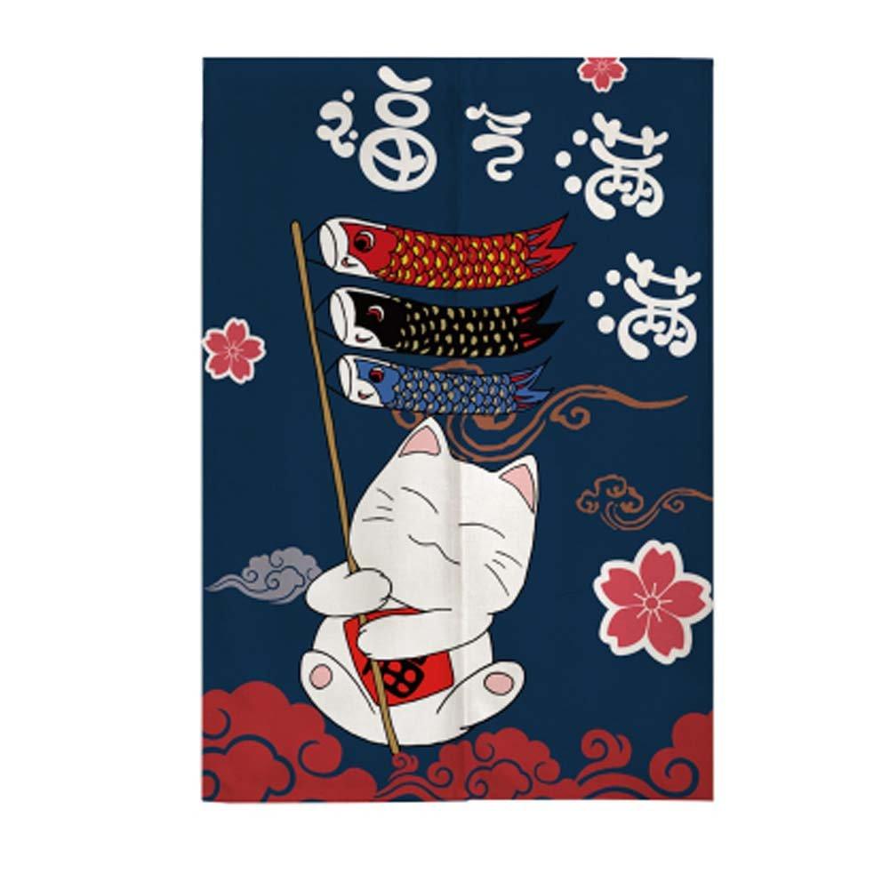 Rideau Noren japonais Rideau Manway Maneki Neko Lucky Cat Entrance Rideau, # 01 Fancy Pumpkin