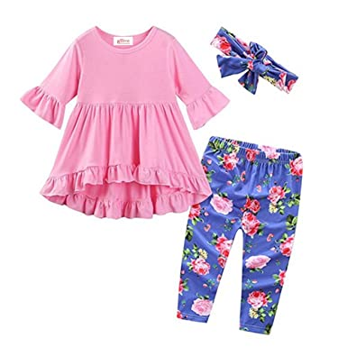 60af113502262 3 Piece Baby Girls' Outfit Set Boho Tunic Tops + Floral Legging Pants +  Headband
