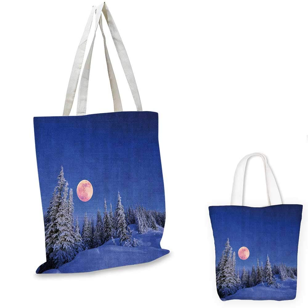 Winter Decorations canvas messenger bag Winter Night in Mountain Tops with Full Moon in Idyllic Sublime Habitat View canvas beach bag Multi 14x16-11