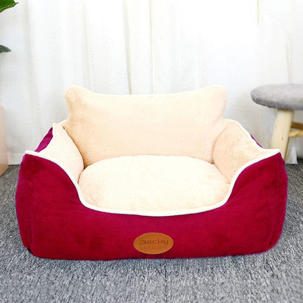 RED 60x50x21cm RED 60x50x21cm YangMi pet bed- Kennel Cat Litter Small Medium Large Removable Washable Winter Warm Pet Mat (color   RED, Size   60x50x21cm)