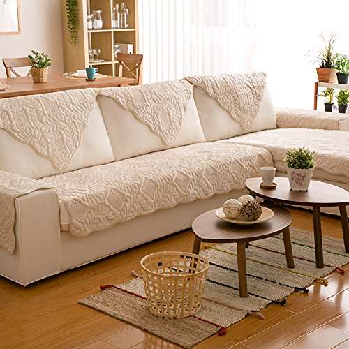 AFAHXX Plush Thicken Sofa Cushion,Quilted Cotton Couch Covers Non-Slip Furniture Protection Cover Decorative Slipcover-Creamy-White 68x68cm(27x27inch) by AFAHXX