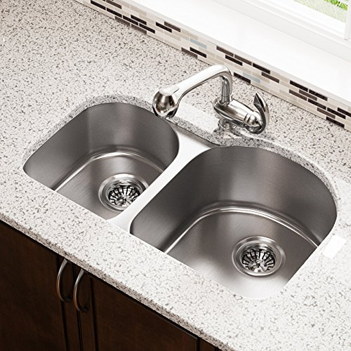 US1031R 18-Gauge Undermount Offset Double Bowl Stainless Steel Kitchen Sink by MR Direct (Image #1)