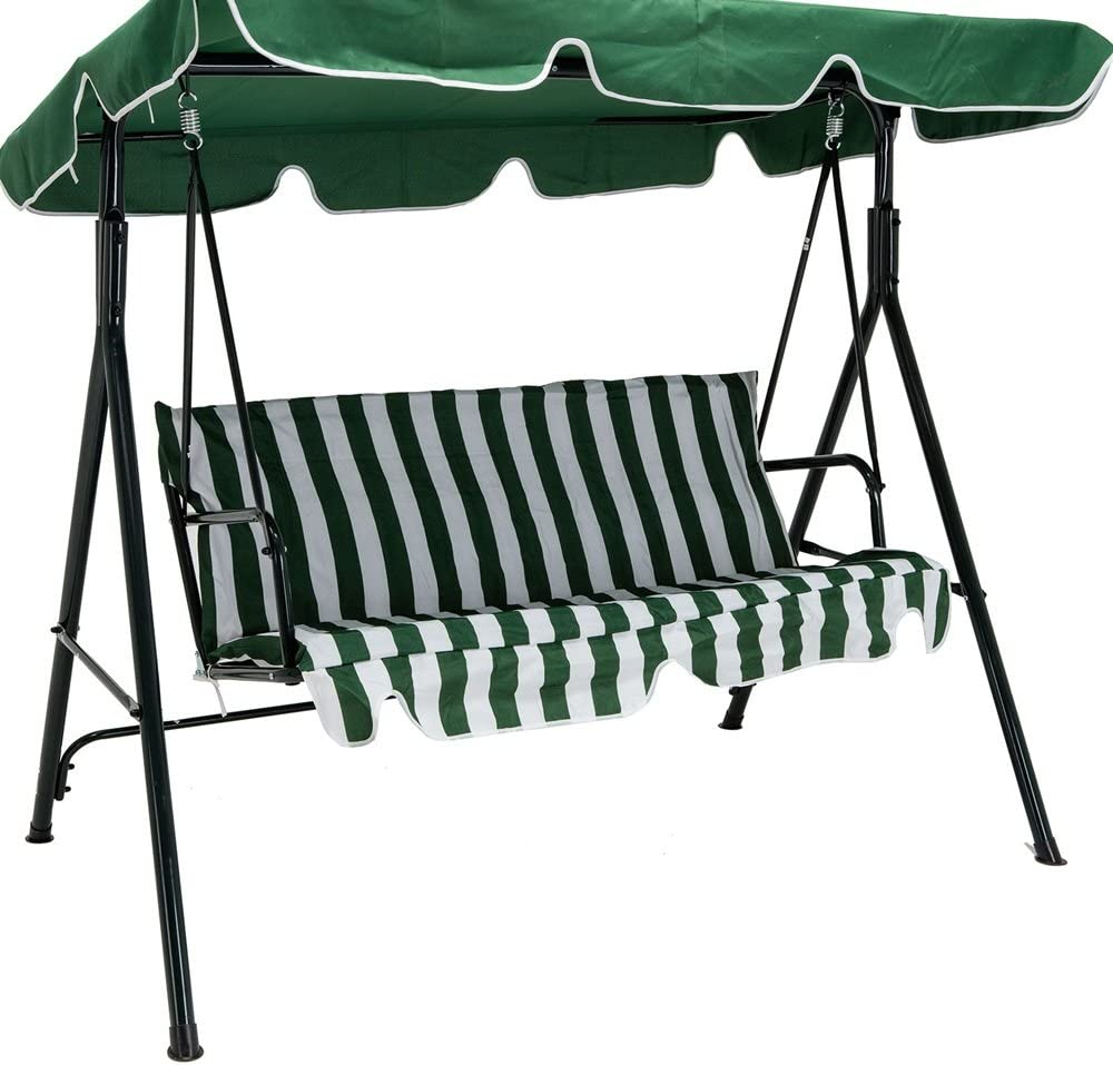 Majithaishop New Green Outdoor 3 Seats Patio Canopy Swing Glider Hammock Backyard Porch Furniture Great Addition to Your Backyard