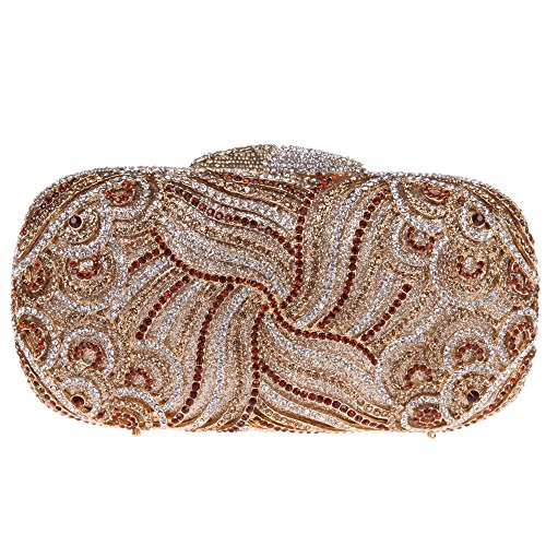 Fawziya Luxury Paisley Clutch Bling Rhinestone Clutch Hard Case Clutch Purse-Coffee