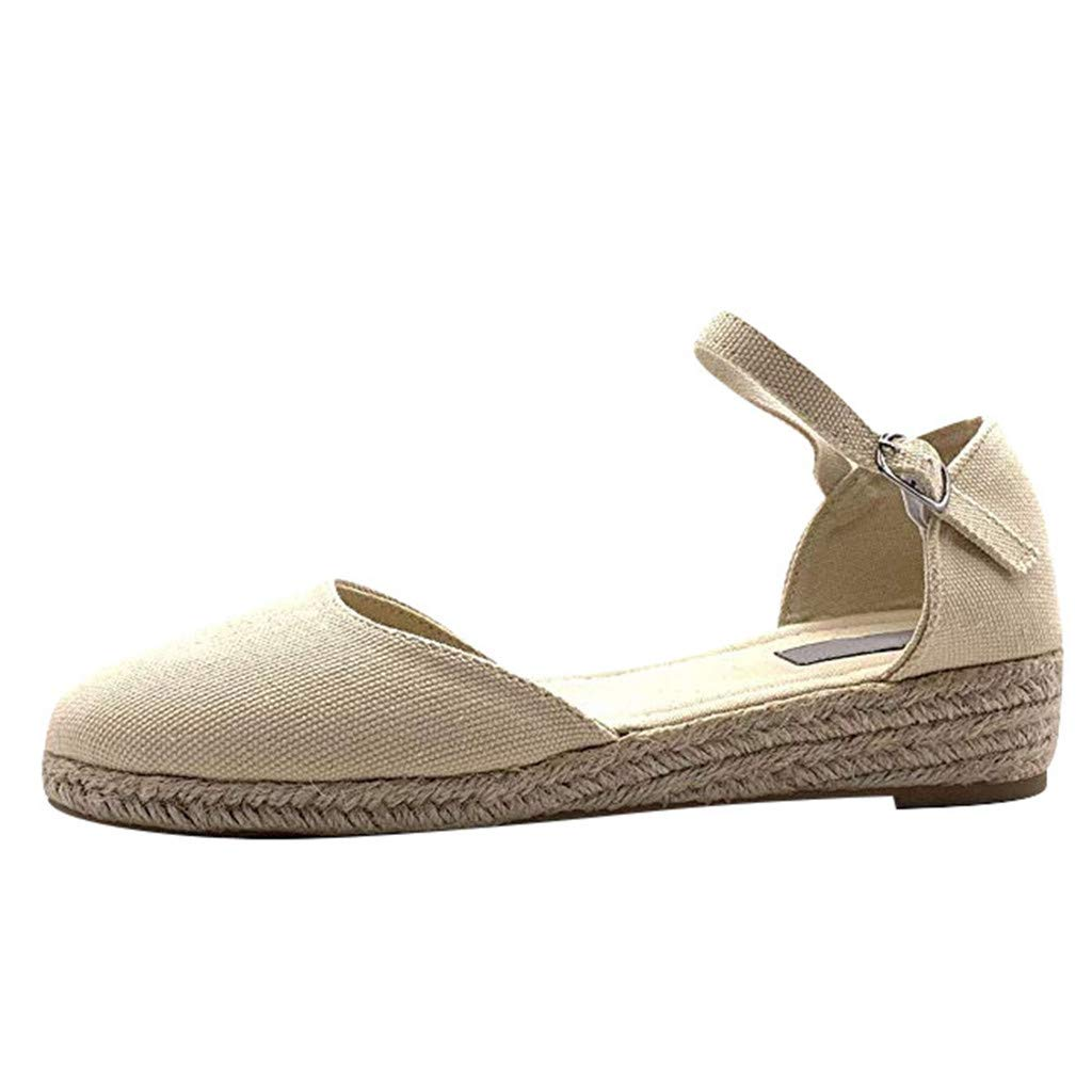 〓COOlCCI〓Platform Wedges Sandals for Women, Classic Soft Ankle-Tie Closed Toe Espadrilles Shoes Flats Sandals Linen Beige by COOlCCI_Shoes