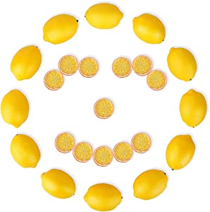 BOMAROLAN 24 Pieces of Artificial Fruit Lemons and Plastic Fake Lemon Slices, Lifelike Fruit Model Vivid Faux Yellow Lemon for Fruit Bowl, Home Kitchen Table Cabinet Party Decor Photography Props