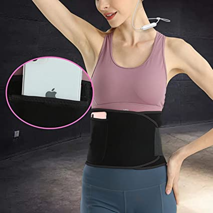 Adjustable Stomach Wrap with Phone Pocket Neoprene Sweat Waist Trainer Belt for Weight Loss and Burn Fat OUEEGER Waist Trimmer Belt for Women and Men