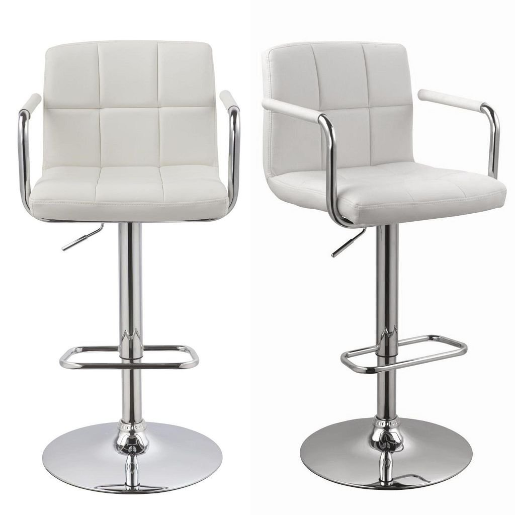 Duhome 2 Pcs Luxury Synthetic Leather Bar Stools with Armrest White Kitchen Counter Pub Stool Chair